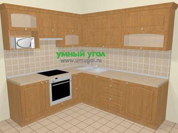 Угловая кухня МДФ матовый в стиле кантри 6,9 м², 210 на 240 см, Ольха, верхние модули 72 см, верхний модуль под свч, встроенный духовой шкаф