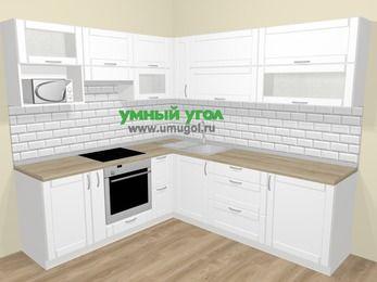 Угловая кухня МДФ матовый  в скандинавском стиле 6,9 м², 210 на 240 см, Белый, верхние модули 72 см, верхний модуль под свч, встроенный духовой шкаф