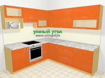 Угловая кухня МДФ металлик в современном стиле 6,9 м², 210 на 240 см, Оранжевый металлик, верхние модули 72 см, верхний модуль под свч, встроенный духовой шкаф