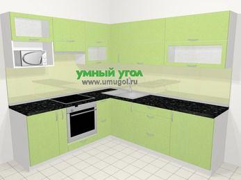 Угловая кухня МДФ металлик в современном стиле 6,9 м², 210 на 240 см, Салатовый металлик, верхние модули 72 см, верхний модуль под свч, встроенный духовой шкаф
