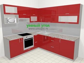 Угловая кухня МДФ глянец в современном стиле 6,9 м², 210 на 240 см, Красный, верхние модули 72 см, верхний модуль под свч, встроенный духовой шкаф