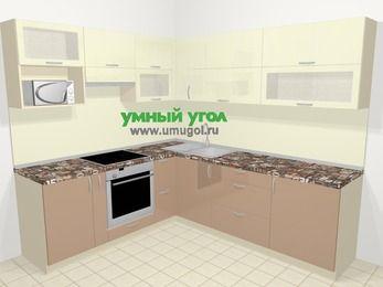 Угловая кухня МДФ глянец в современном стиле 6,9 м², 210 на 240 см, Жасмин / Капучино, верхние модули 72 см, верхний модуль под свч, встроенный духовой шкаф