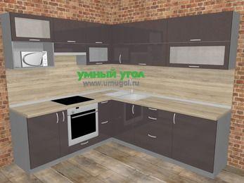 Угловая кухня МДФ глянец в стиле лофт 6,9 м², 210 на 240 см, Шоколад, верхние модули 72 см, верхний модуль под свч, встроенный духовой шкаф