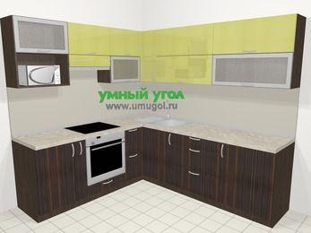 Кухни пластиковые угловые в современном стиле 6,9 м², 210 на 240 см, Желтый Галлион глянец / Дерево Мокка, верхние модули 72 см, верхний модуль под свч, встроенный духовой шкаф