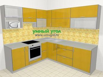 Кухни пластиковые угловые в современном стиле 6,9 м², 210 на 240 см, Желтый глянец, верхние модули 72 см, верхний модуль под свч, встроенный духовой шкаф