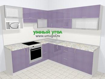 Кухни пластиковые угловые в современном стиле 6,9 м², 210 на 240 см, Сиреневый глянец, верхние модули 72 см, верхний модуль под свч, встроенный духовой шкаф
