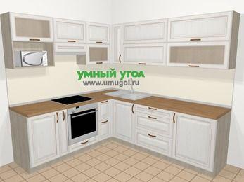 Угловая кухня МДФ патина в классическом стиле 6,9 м², 210 на 240 см, Лиственница белая, верхние модули 72 см, верхний модуль под свч, встроенный духовой шкаф