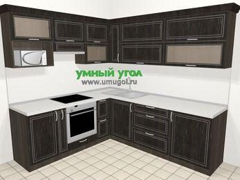 Угловая кухня МДФ патина в классическом стиле 6,9 м², 210 на 240 см, Венге, верхние модули 72 см, верхний модуль под свч, встроенный духовой шкаф