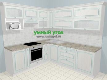 Угловая кухня МДФ патина в стиле прованс 6,9 м², 210 на 240 см, Лиственница белая, верхние модули 72 см, верхний модуль под свч, встроенный духовой шкаф