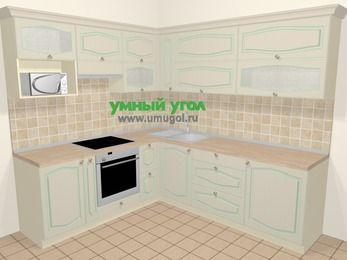 Угловая кухня МДФ патина в стиле прованс 6,9 м², 210 на 240 см, Керамик, верхние модули 72 см, верхний модуль под свч, встроенный духовой шкаф