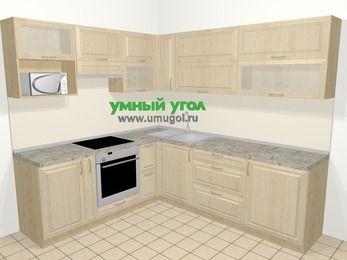 Угловая кухня из массива дерева в классическом стиле 6,9 м², 210 на 240 см, Светло-коричневые оттенки, верхние модули 72 см, верхний модуль под свч, встроенный духовой шкаф