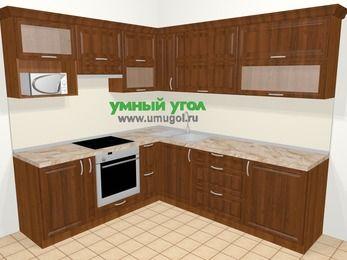 Угловая кухня из массива дерева в классическом стиле 6,9 м², 210 на 240 см, Темно-коричневые оттенки, верхние модули 72 см, верхний модуль под свч, встроенный духовой шкаф