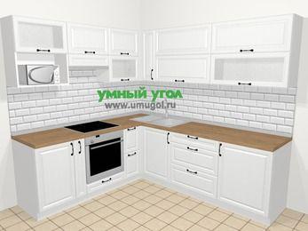 Угловая кухня из массива дерева в скандинавском стиле 6,9 м², 210 на 240 см, Белые оттенки, верхние модули 72 см, верхний модуль под свч, встроенный духовой шкаф