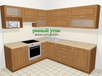 Угловая кухня МДФ патина в классическом стиле 6,9 м², 210 на 240 см, Ольха, верхние модули 72 см, верхний модуль под свч, встроенный духовой шкаф