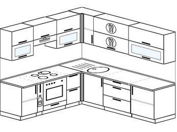 Угловая кухня 6,9 м² (2,1✕2,4 м), верхние модули 72 см, встроенный духовой шкаф
