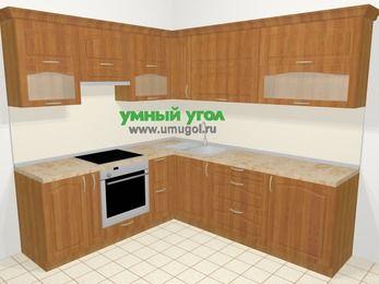 Угловая кухня МДФ матовый в классическом стиле 6,9 м², 210 на 240 см, Вишня, верхние модули 72 см, встроенный духовой шкаф