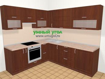 Угловая кухня МДФ матовый в классическом стиле 6,9 м², 210 на 240 см, Вишня темная, верхние модули 72 см, встроенный духовой шкаф