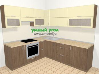 Угловая кухня МДФ матовый в современном стиле 6,9 м², 210 на 240 см, Ваниль / Лиственница бронзовая, верхние модули 72 см, встроенный духовой шкаф
