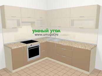 Угловая кухня МДФ матовый в современном стиле 6,9 м², 210 на 240 см, Керамик / Кофе, верхние модули 72 см, встроенный духовой шкаф