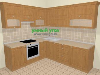 Угловая кухня МДФ матовый в стиле кантри 6,9 м², 210 на 240 см, Ольха, верхние модули 72 см, встроенный духовой шкаф