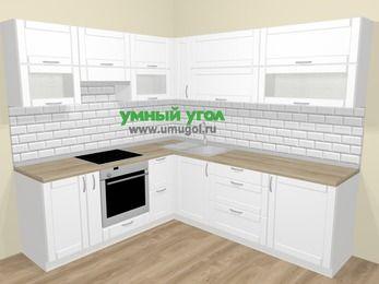 Угловая кухня МДФ матовый  в скандинавском стиле 6,9 м², 210 на 240 см, Белый, верхние модули 72 см, встроенный духовой шкаф