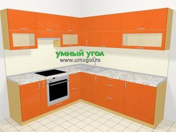 Угловая кухня МДФ металлик в современном стиле 6,9 м², 210 на 240 см, Оранжевый металлик, верхние модули 72 см, встроенный духовой шкаф