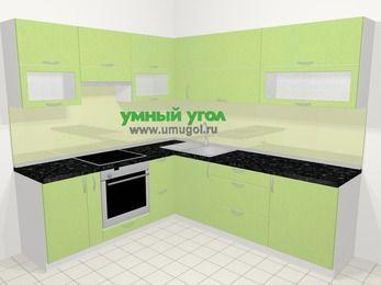 Угловая кухня МДФ металлик в современном стиле 6,9 м², 210 на 240 см, Салатовый металлик, верхние модули 72 см, встроенный духовой шкаф