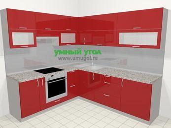 Угловая кухня МДФ глянец в современном стиле 6,9 м², 210 на 240 см, Красный, верхние модули 72 см, встроенный духовой шкаф