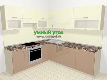 Угловая кухня МДФ глянец в современном стиле 6,9 м², 210 на 240 см, Жасмин / Капучино, верхние модули 72 см, встроенный духовой шкаф