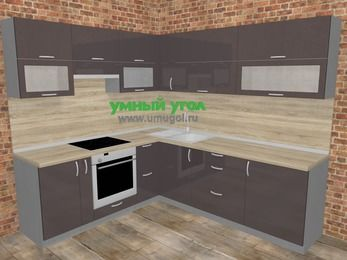 Угловая кухня МДФ глянец в стиле лофт 6,9 м², 210 на 240 см, Шоколад, верхние модули 72 см, встроенный духовой шкаф