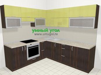 Кухни пластиковые угловые в современном стиле 6,9 м², 210 на 240 см, Желтый Галлион глянец / Дерево Мокка, верхние модули 72 см, встроенный духовой шкаф