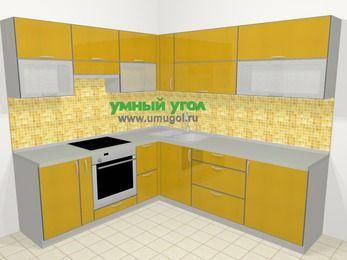 Кухни пластиковые угловые в современном стиле 6,9 м², 210 на 240 см, Желтый глянец, верхние модули 72 см, встроенный духовой шкаф