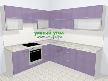 Кухни пластиковые угловые в современном стиле 6,9 м², 210 на 240 см, Сиреневый глянец, верхние модули 72 см, встроенный духовой шкаф