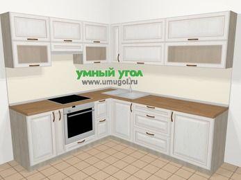 Угловая кухня МДФ патина в классическом стиле 6,9 м², 210 на 240 см, Лиственница белая, верхние модули 72 см, встроенный духовой шкаф