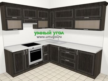 Угловая кухня МДФ патина в классическом стиле 6,9 м², 210 на 240 см, Венге, верхние модули 72 см, встроенный духовой шкаф