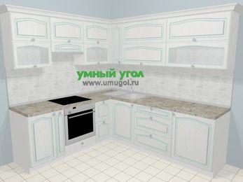 Угловая кухня МДФ патина в стиле прованс 6,9 м², 210 на 240 см, Лиственница белая, верхние модули 72 см, встроенный духовой шкаф