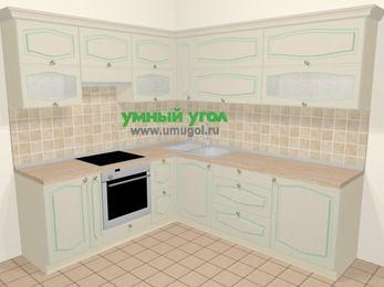 Угловая кухня МДФ патина в стиле прованс 6,9 м², 210 на 240 см, Керамик, верхние модули 72 см, встроенный духовой шкаф
