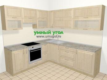 Угловая кухня из массива дерева в классическом стиле 6,9 м², 210 на 240 см, Светло-коричневые оттенки, верхние модули 72 см, встроенный духовой шкаф