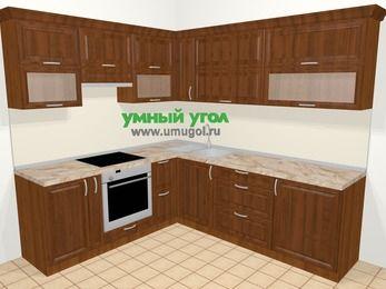Угловая кухня из массива дерева в классическом стиле 6,9 м², 210 на 240 см, Темно-коричневые оттенки, верхние модули 72 см, встроенный духовой шкаф