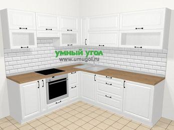 Угловая кухня из массива дерева в скандинавском стиле 6,9 м², 210 на 240 см, Белые оттенки, верхние модули 72 см, встроенный духовой шкаф