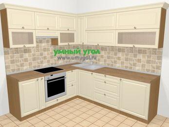 Угловая кухня из массива дерева в стиле кантри 6,9 м², 210 на 240 см, Бежевые оттенки, верхние модули 72 см, встроенный духовой шкаф