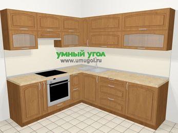 Угловая кухня МДФ патина в классическом стиле 6,9 м², 210 на 240 см, Ольха, верхние модули 72 см, встроенный духовой шкаф