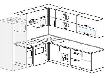 Угловая кухня 6,9 м² (2,1✕2,4 м), верхние модули 72 см, посудомоечная машина, холодильник, отдельно стоящая плита