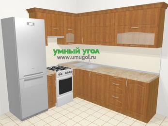 Угловая кухня МДФ матовый в классическом стиле 6,9 м², 210 на 240 см, Вишня, верхние модули 72 см, посудомоечная машина, холодильник, отдельно стоящая плита