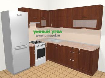 Угловая кухня МДФ матовый в классическом стиле 6,9 м², 210 на 240 см, Вишня темная, верхние модули 72 см, посудомоечная машина, холодильник, отдельно стоящая плита
