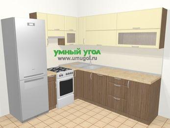 Угловая кухня МДФ матовый в современном стиле 6,9 м², 210 на 240 см, Ваниль / Лиственница бронзовая, верхние модули 72 см, посудомоечная машина, холодильник, отдельно стоящая плита