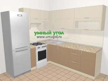 Угловая кухня МДФ матовый в современном стиле 6,9 м², 210 на 240 см, Керамик / Кофе, верхние модули 72 см, посудомоечная машина, холодильник, отдельно стоящая плита