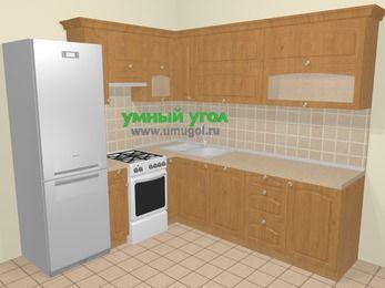 Угловая кухня МДФ матовый в стиле кантри 6,9 м², 210 на 240 см, Ольха, верхние модули 72 см, посудомоечная машина, холодильник, отдельно стоящая плита