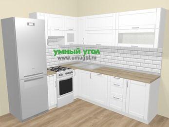 Угловая кухня МДФ матовый  в скандинавском стиле 6,9 м², 210 на 240 см, Белый, верхние модули 72 см, посудомоечная машина, холодильник, отдельно стоящая плита