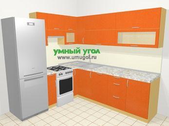 Угловая кухня МДФ металлик в современном стиле 6,9 м², 210 на 240 см, Оранжевый металлик, верхние модули 72 см, посудомоечная машина, холодильник, отдельно стоящая плита